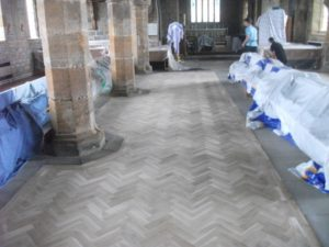 gosforth church renovation parquet flooring install